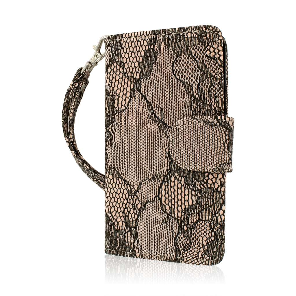 Nokia Lumia 521 - Black Lace MPERO FLEX FLIP Wallet Case Cover