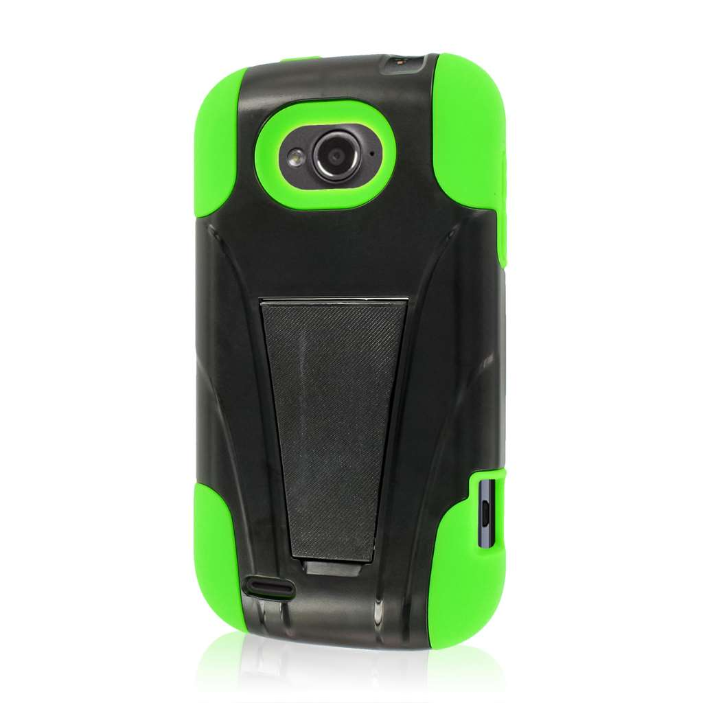 ZTE Savvy - NEON GREEN MPERO IMPACT X - Kickstand Case Cover