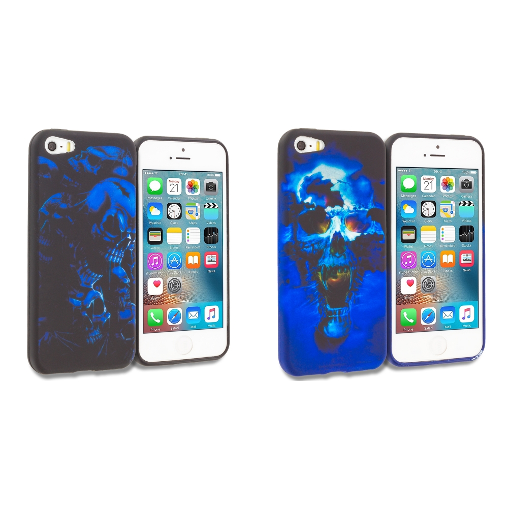 Apple iPhone 5/5S/SE Combo Pack : Black Blue Skull TPU Design Soft Rubber Case Cover