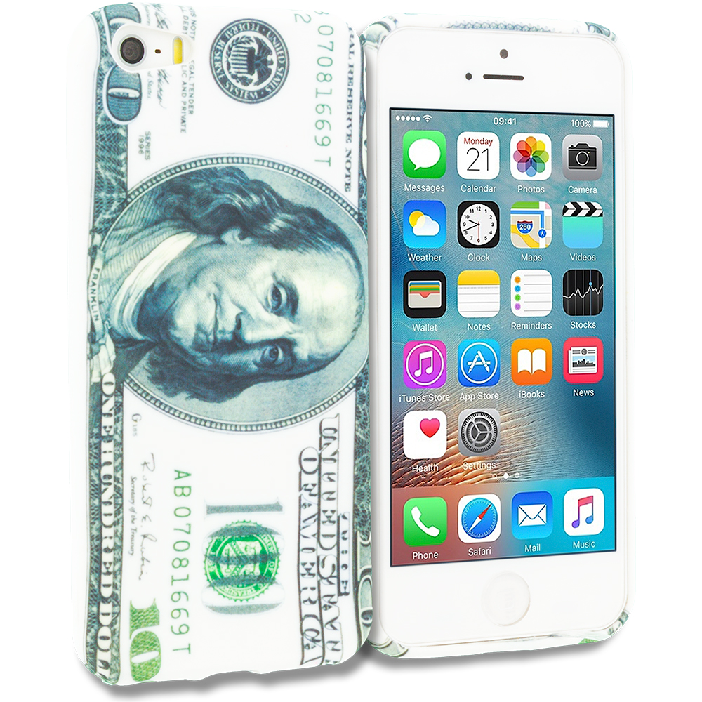 Apple iPhone 5/5S/SE Combo Pack : Hundred Dollars TPU Design Soft Rubber Case Cover : Color Hundred Dollars
