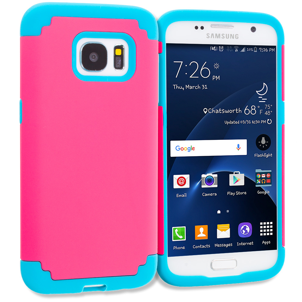 Samsung Galaxy S7 Combo Pack : Hot Pink / Baby Blue Hybrid Slim Hard Soft Rubber Impact Protector Case Cover : Color Hot Pink / Baby Blue