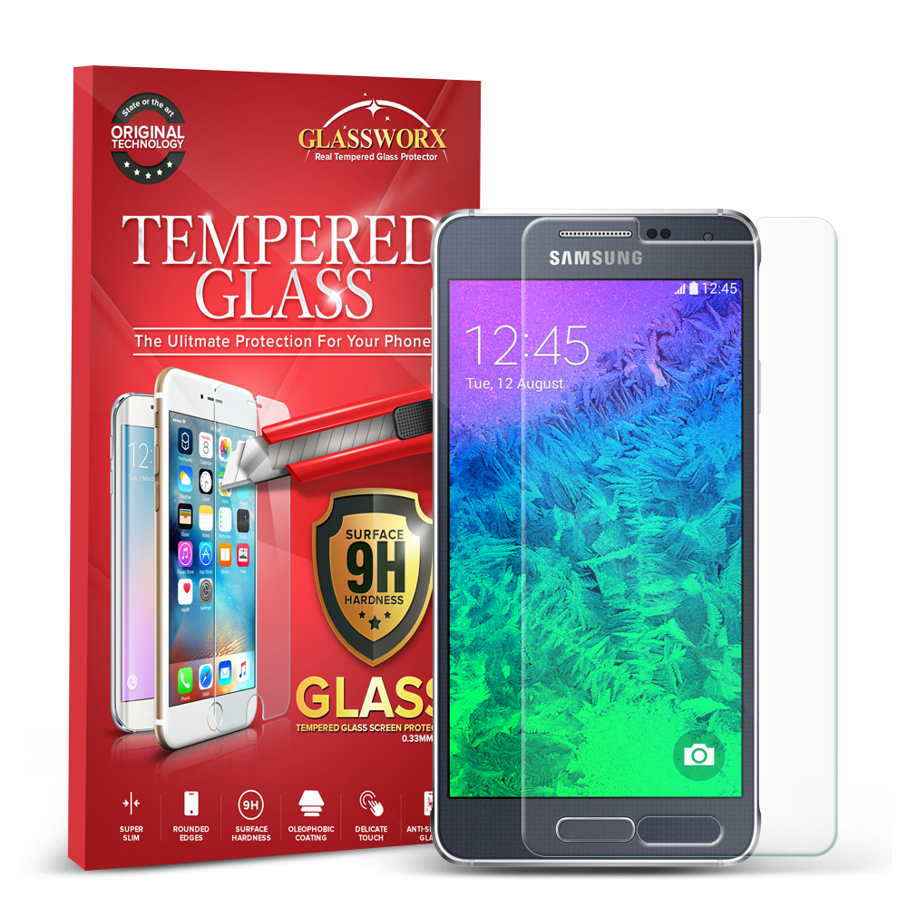Samsung Galaxy Alpha G850 GlassWorX HD Clear Tempered Glass Screen Protector