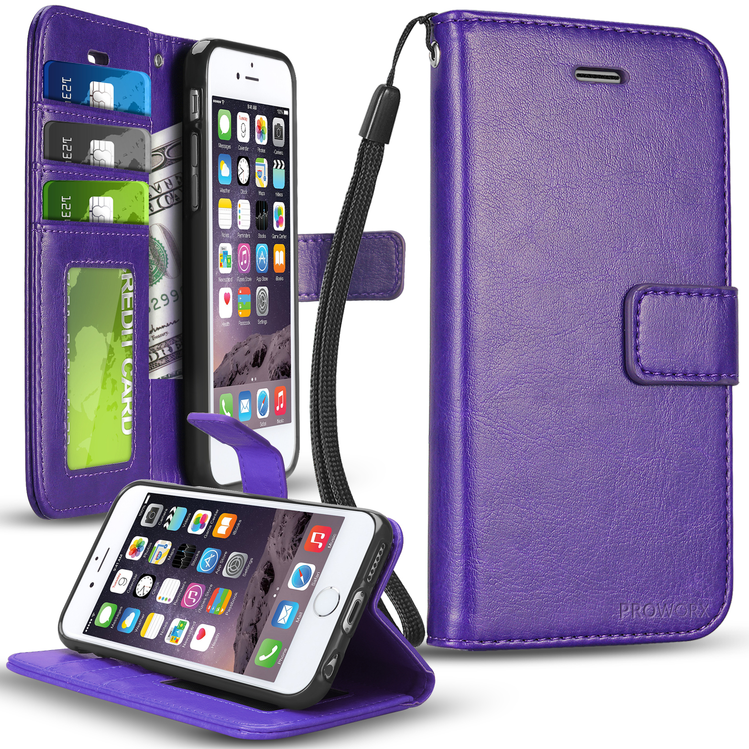 Apple iPhone 6 6S (4.7) Purple ProWorx Wallet Case Luxury PU Leather Case Cover With Card Slots & Stand