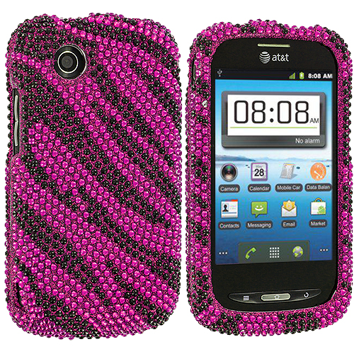 ZTE Avail Z990 Black / Hot Pink Zebra Bling Rhinestone Case Cover