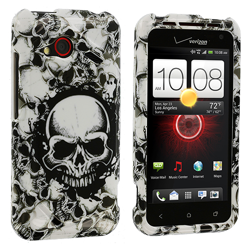 HTC Droid Incredible 4G LTE 6410 Black White Skulls Design Crystal Hard Case Cover