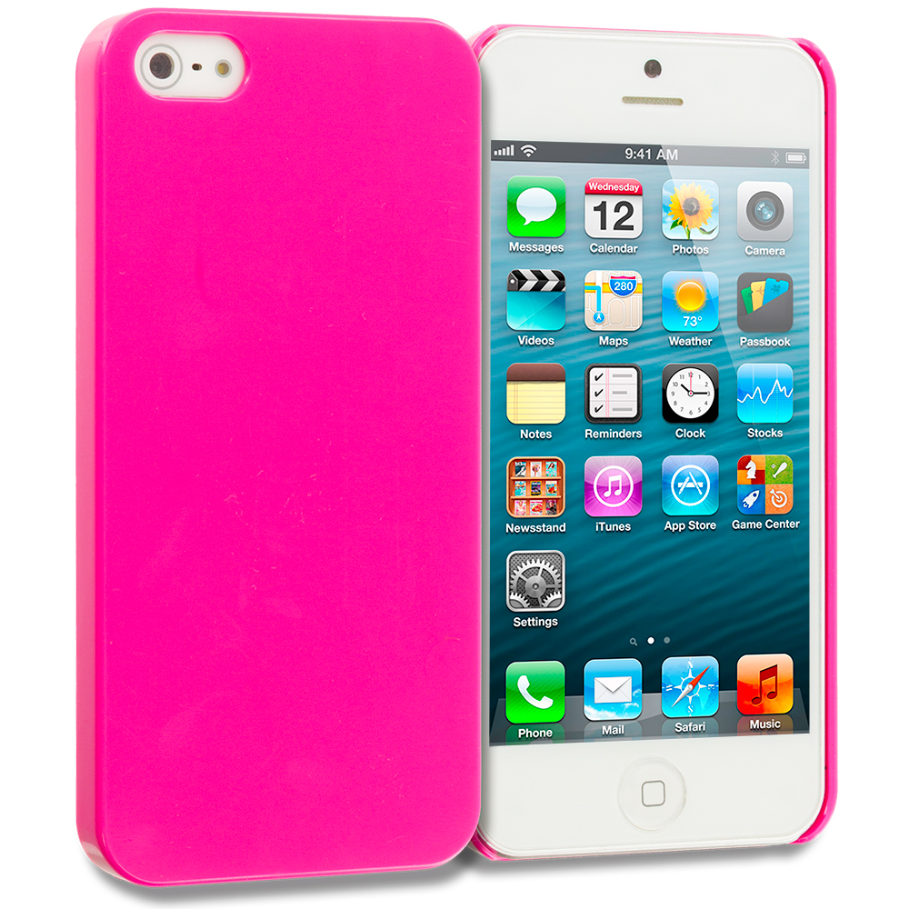 Apple iPhone 5/5S/SE Hot Pink Solid Crystal Hard Back Cover Case