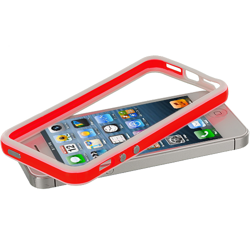 Apple iPhone 5/5S/SE White / Red TPU Bumper with Metal Buttons