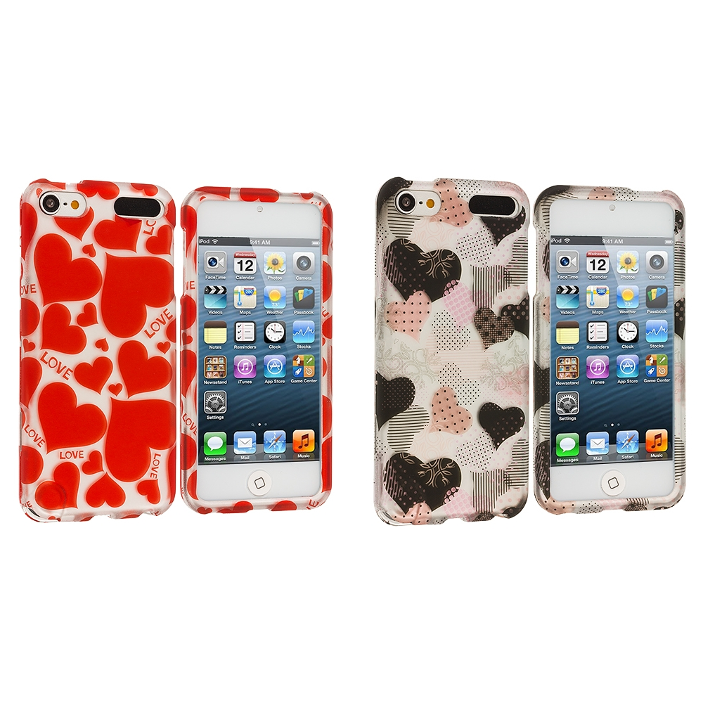 Apple iPod Touch 5th 6th Generation 2 in 1 Combo Bundle Pack - Hearts Love Hard Rubberized Design Case Cover