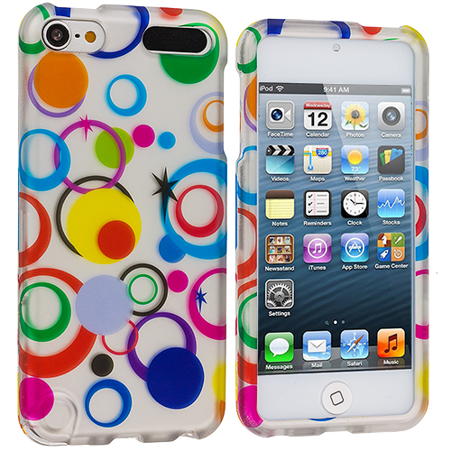 Apple iPod Touch 5th 6th Generation Colorful Circle on White Hard Rubberized Design Case Cover