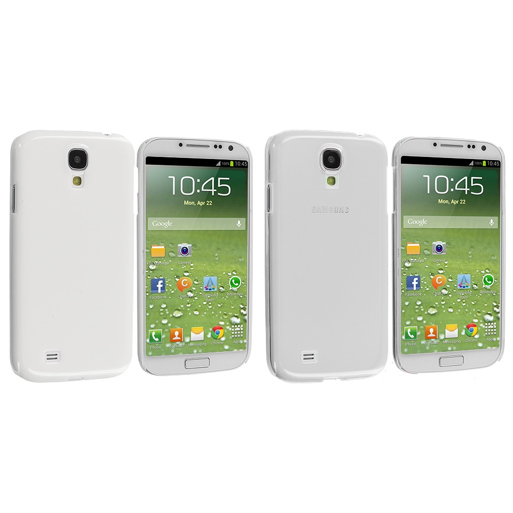 Samsung Galaxy S4 2 in 1 Combo Bundle Pack - Clear White Crystal Hard Back Cover Case