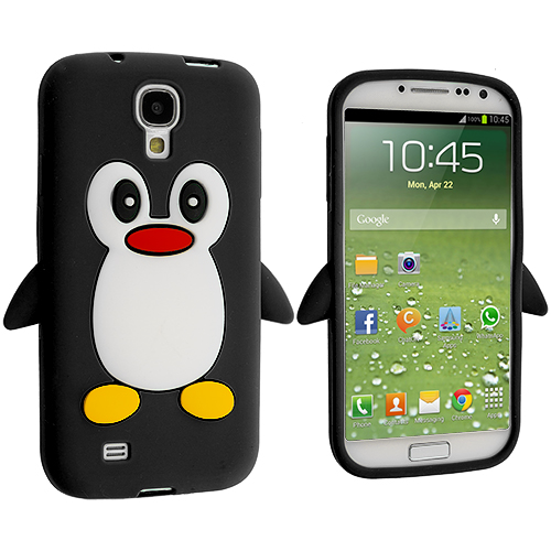 Samsung Galaxy S4 Black Penguin Silicone Design Soft Skin Case Cover