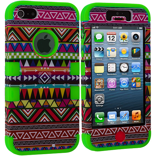 Apple iPhone 5/5S/SE Green Tribal Hybrid Tuff Hard/Soft 3-Piece Case Cover