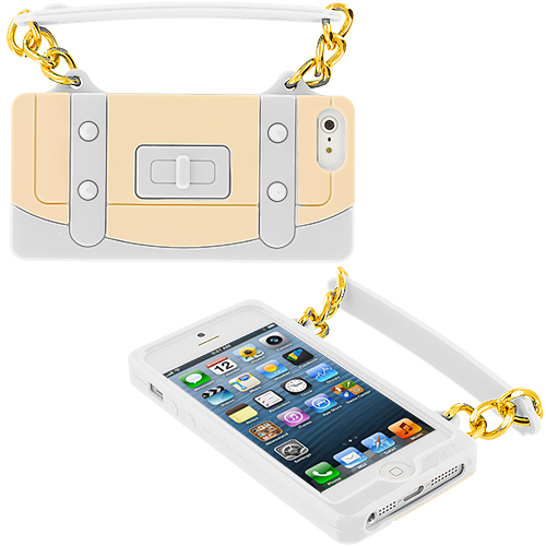 Apple iPhone 5/5S/SE Combo Pack : Baby Blue Handbag Silicone Design Soft Skin Case Cover : Color White Handbag
