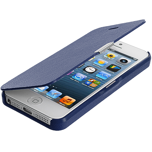 Apple iPhone 5/5S/SE Dark Blue Magnetic Wallet Case Cover Pouch