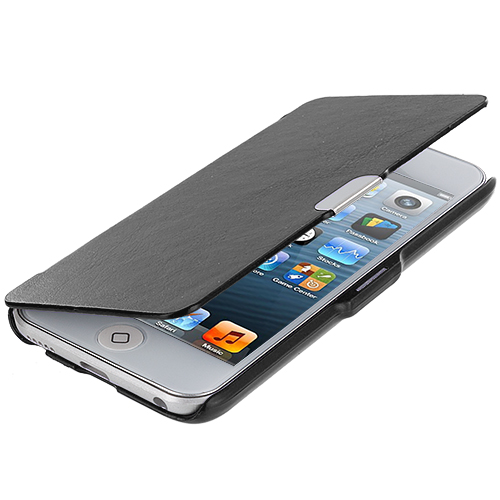 Apple iPod Touch 5th 6th Generation Black Texture Magnetic Wallet Case Cover Pouch