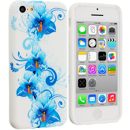 Apple iPhone 5C 3 in 1 Combo Bundle Pack - Flower TPU Design Soft Case Cover : Color Blue White Flower