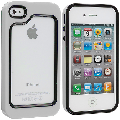 Apple iPhone 4 / 4S 2 in 1 Combo Bundle Pack - White / Hot Pink Hybrid TPU Bumper Case Cover : Color Black / White