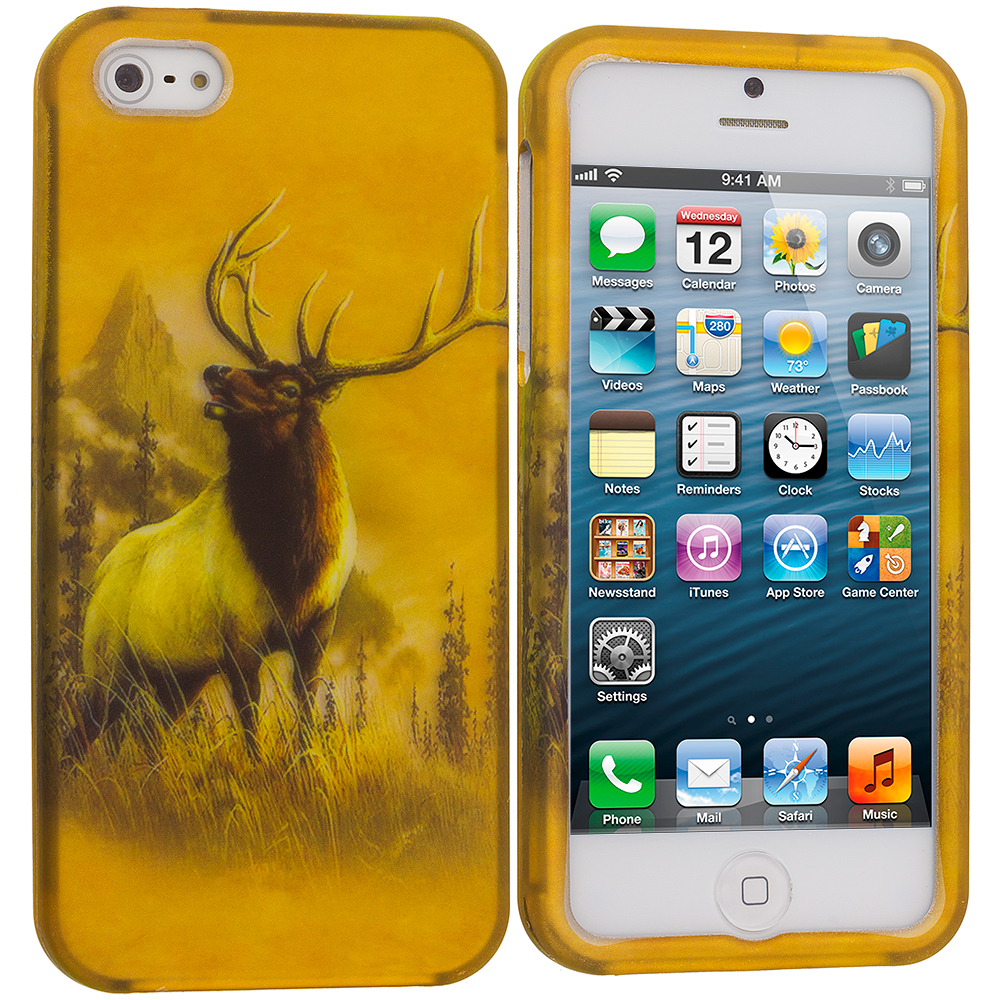 Apple iPhone 5/5S/SE Deer Hard Rubberized Design Case Cover