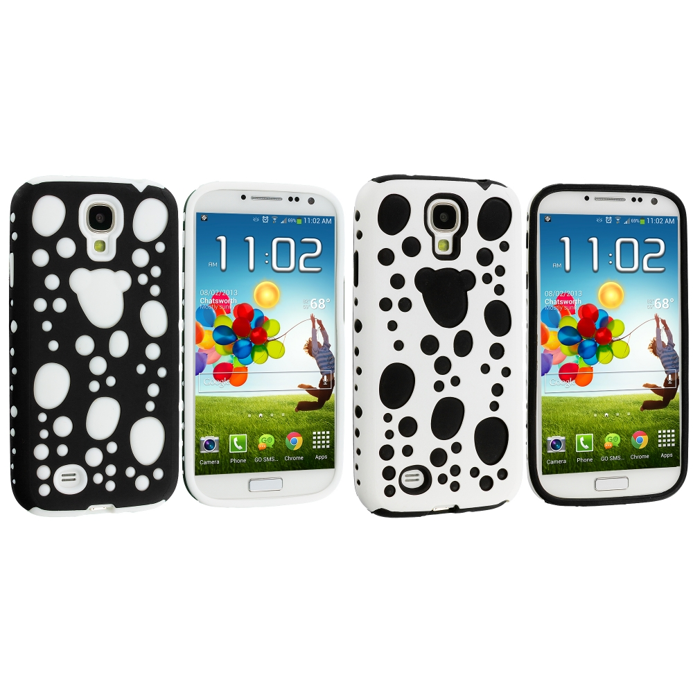Samsung Galaxy S4 2 in 1 Combo Bundle Pack - Black / White Hybrid Bubble Hard/Soft Skin Case Cover