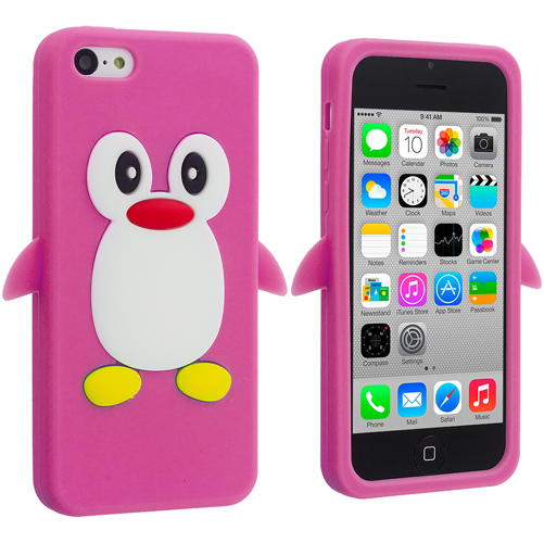 Apple iPhone 5C Hot Pink Penguin Silicone Design Soft Skin Case Cover