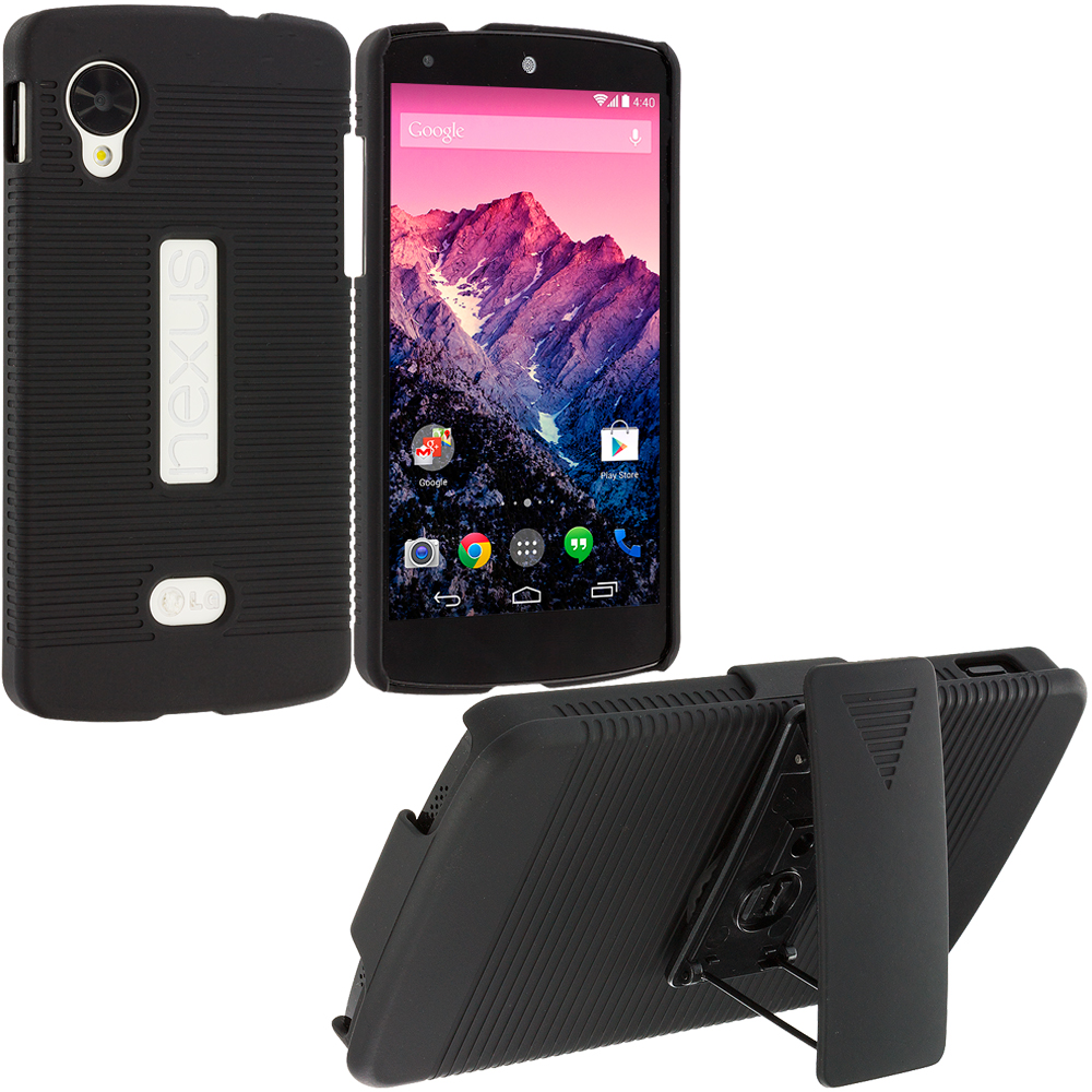 LG Google Nexus 5 Black Hard Rubberized Belt Clip Holster Case Cover