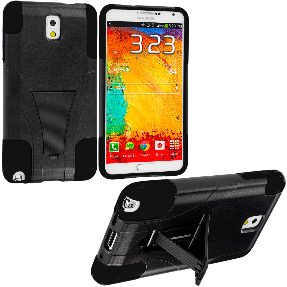 Samsung Galaxy Note 3 N9000 Black / Black Hybrid Hard/Silicone Case Cover with Stand