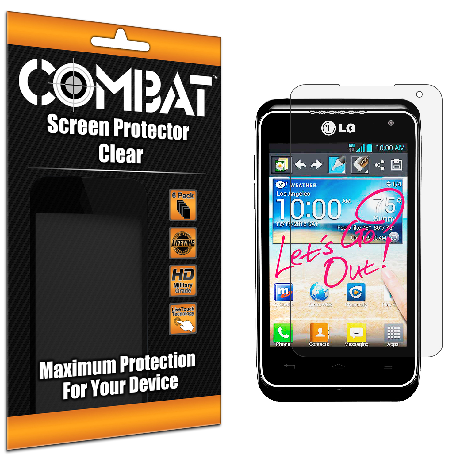 LG Motion MS770 Combat 6 Pack HD Clear Screen Protector