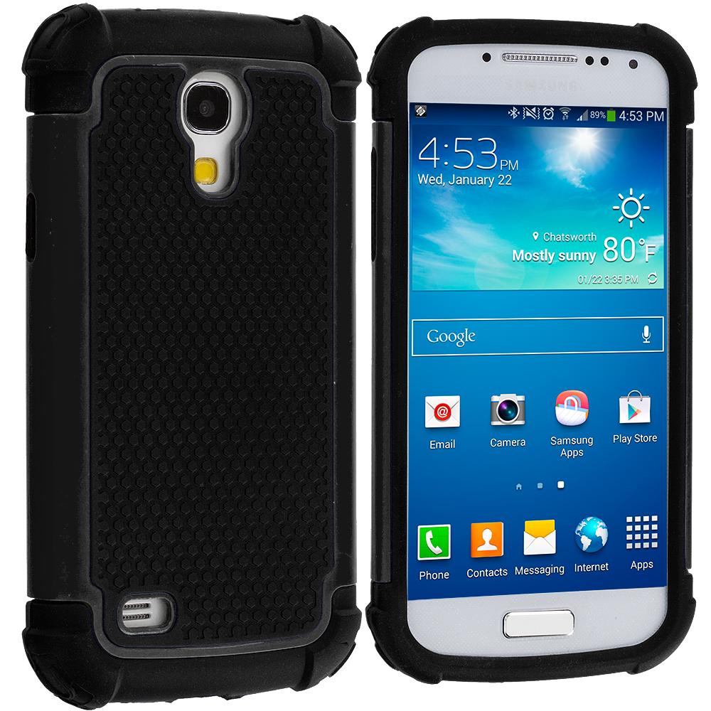 Samsung Galaxy S4 Mini i9190 Black / Black Hybrid Rugged Hard/Soft Case Cover