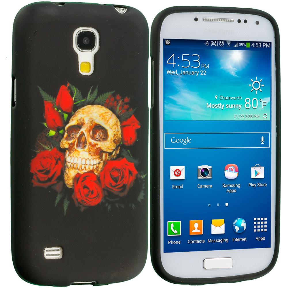 Samsung Galaxy S4 Mini i9190 Red Rose Skull TPU Design Soft Case Cover
