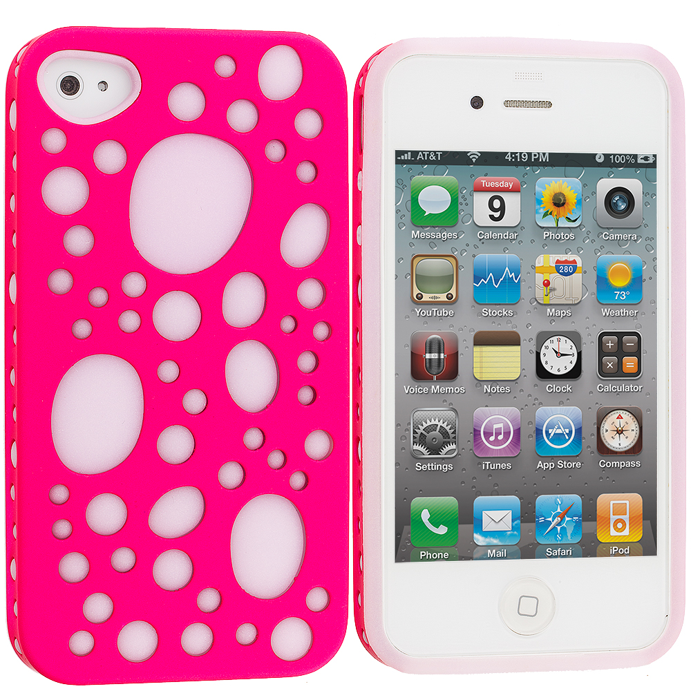 Apple iPhone 4 Pink Hybrid Bubble Hard/Soft Skin Case Cover