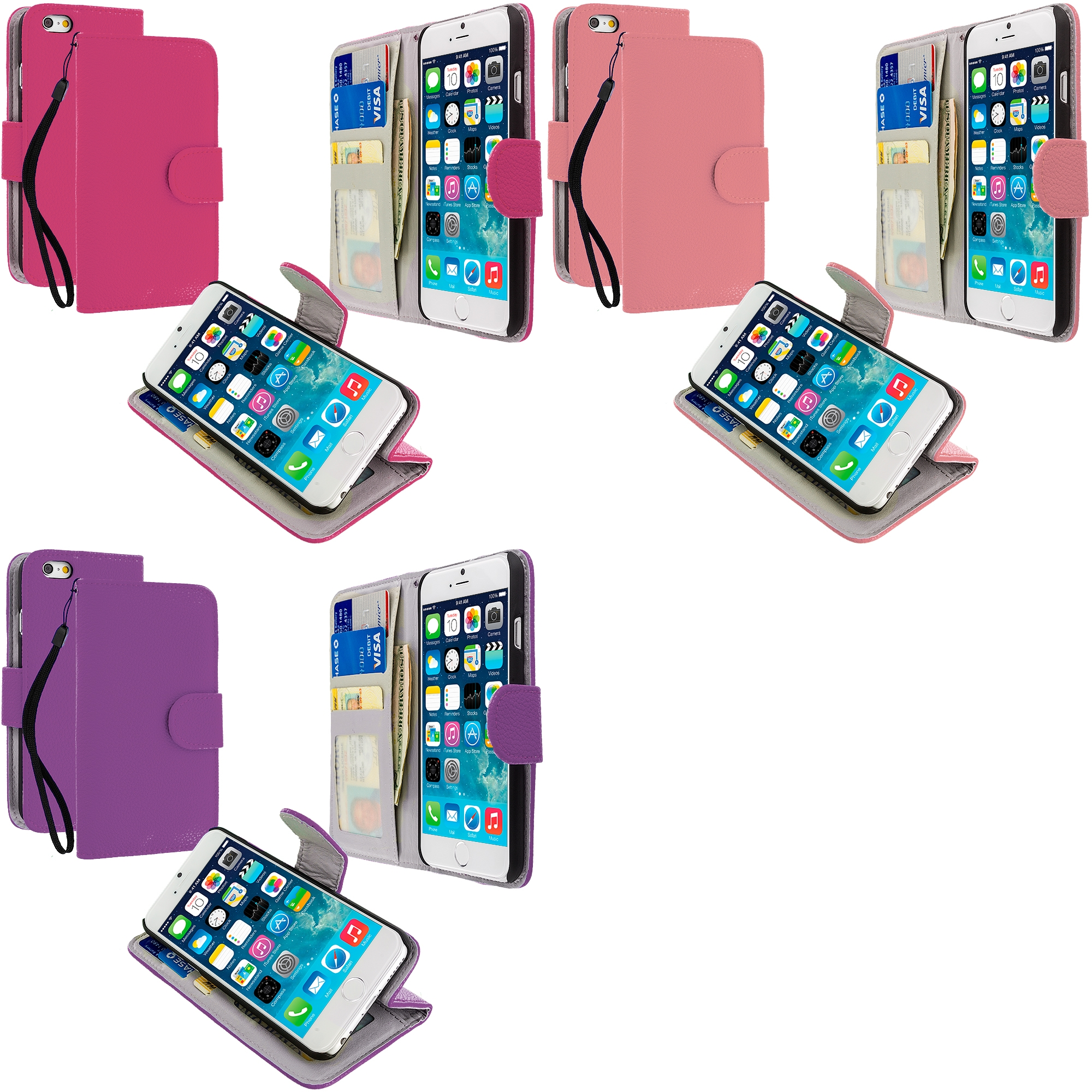 Apple iPhone 6 3 in 1 Bundle - Leather Wallet Pouch Case Cover with Slots