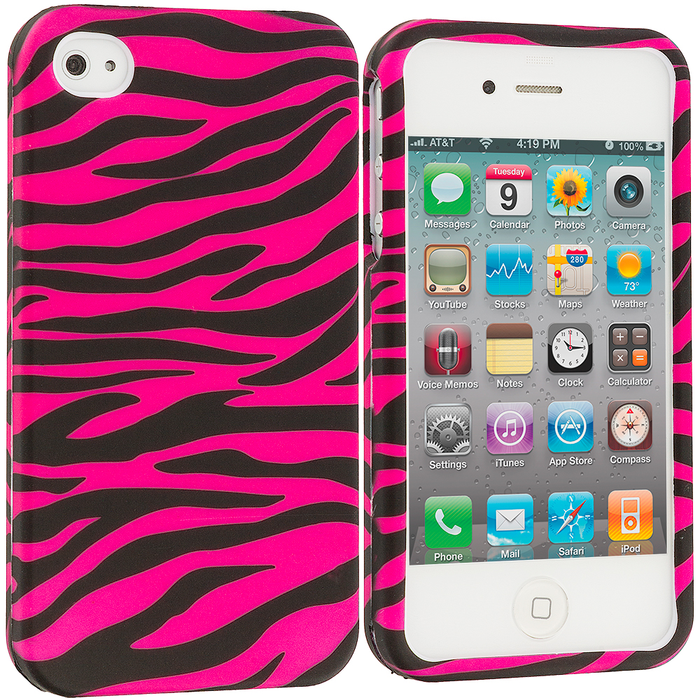 Apple iPhone 4 / 4S 2 in 1 Combo Bundle Pack - Pink/Baby Blue Zebra2D Hard Rubberized Design Case Cover : Color Black / Hot Pink Zebra