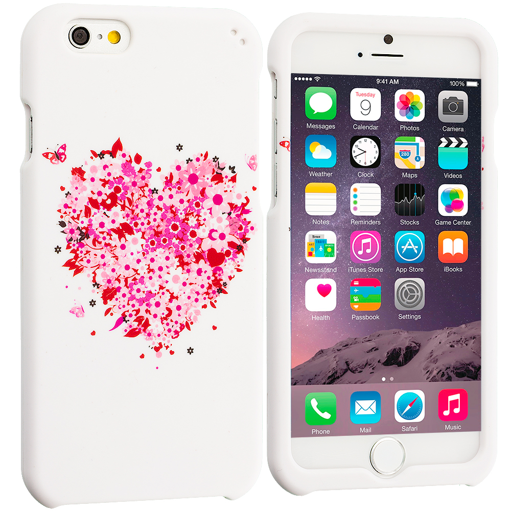 Apple iPhone 6 6S (4.7) Hearts Full of Flowers on White Hard Rubberized Design Case Cover