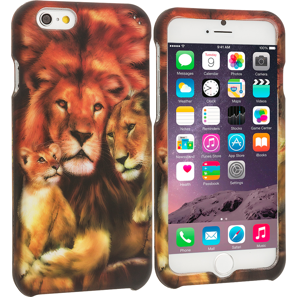 Apple iPhone 6 6S (4.7) Lion Family 2D Hard Rubberized Design Case Cover