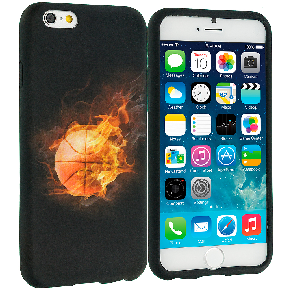 Apple iPhone 6 Plus 6S Plus (5.5) Flaming Basketball TPU Design Soft Rubber Case Cover