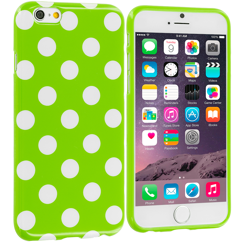 Apple iPhone 6 Plus 6S Plus (5.5) 4 in 1 Combo Bundle Pack - TPU Polka Dot Skin Case Cover : Color Neon Green / White