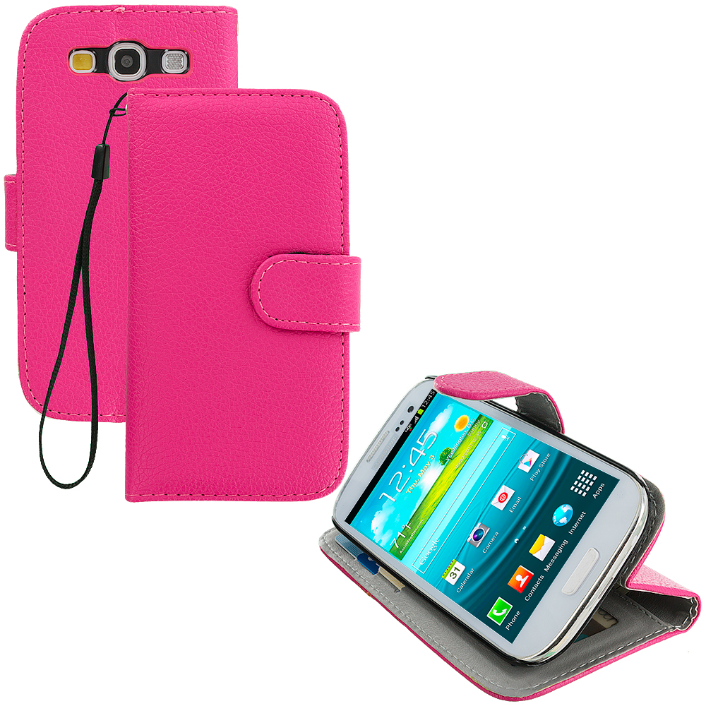 Samsung Galaxy S3 Hot Pink Leather Wallet Pouch Case Cover with Slots