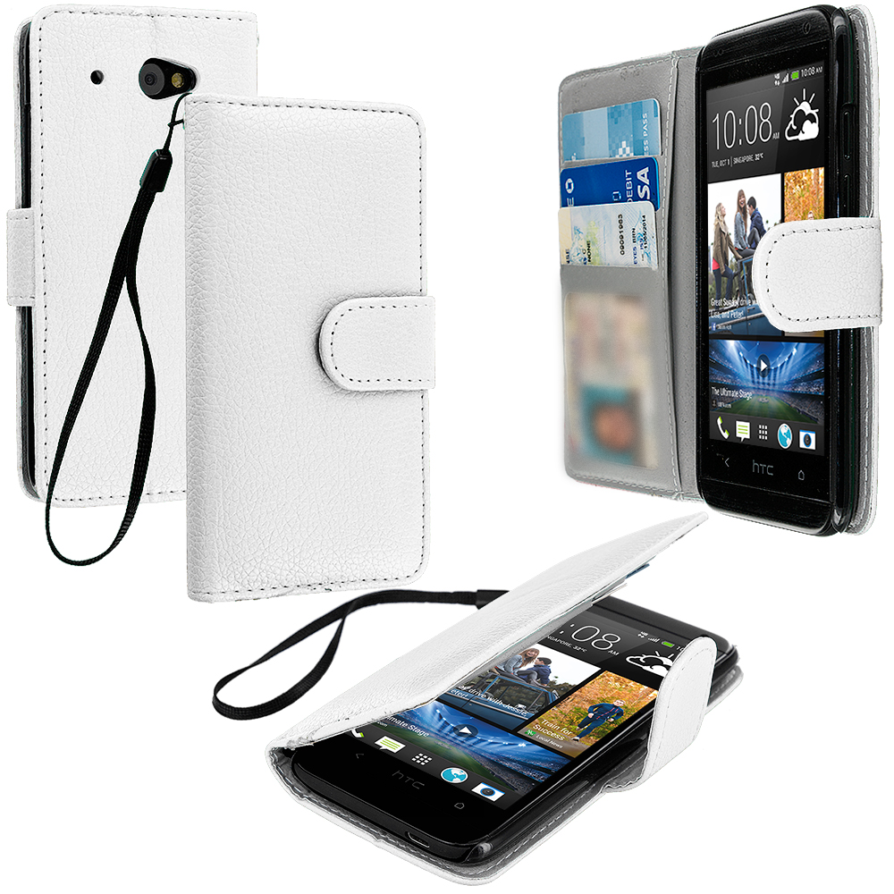 HTC Desire 601 White Leather Wallet Pouch Case Cover with Slots