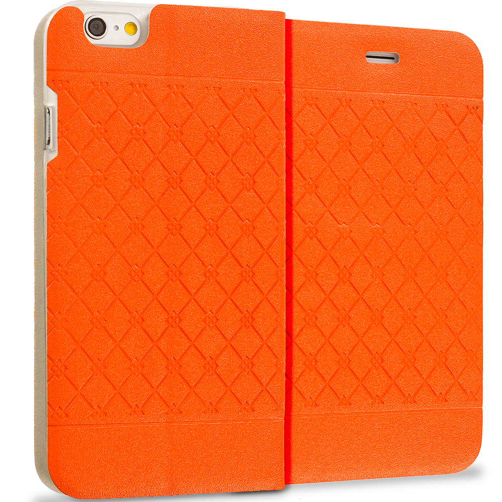Apple iPhone 6 Plus 6S Plus (5.5) Orange Slim Wallet Plaid Luxury Design Flip Case Cover