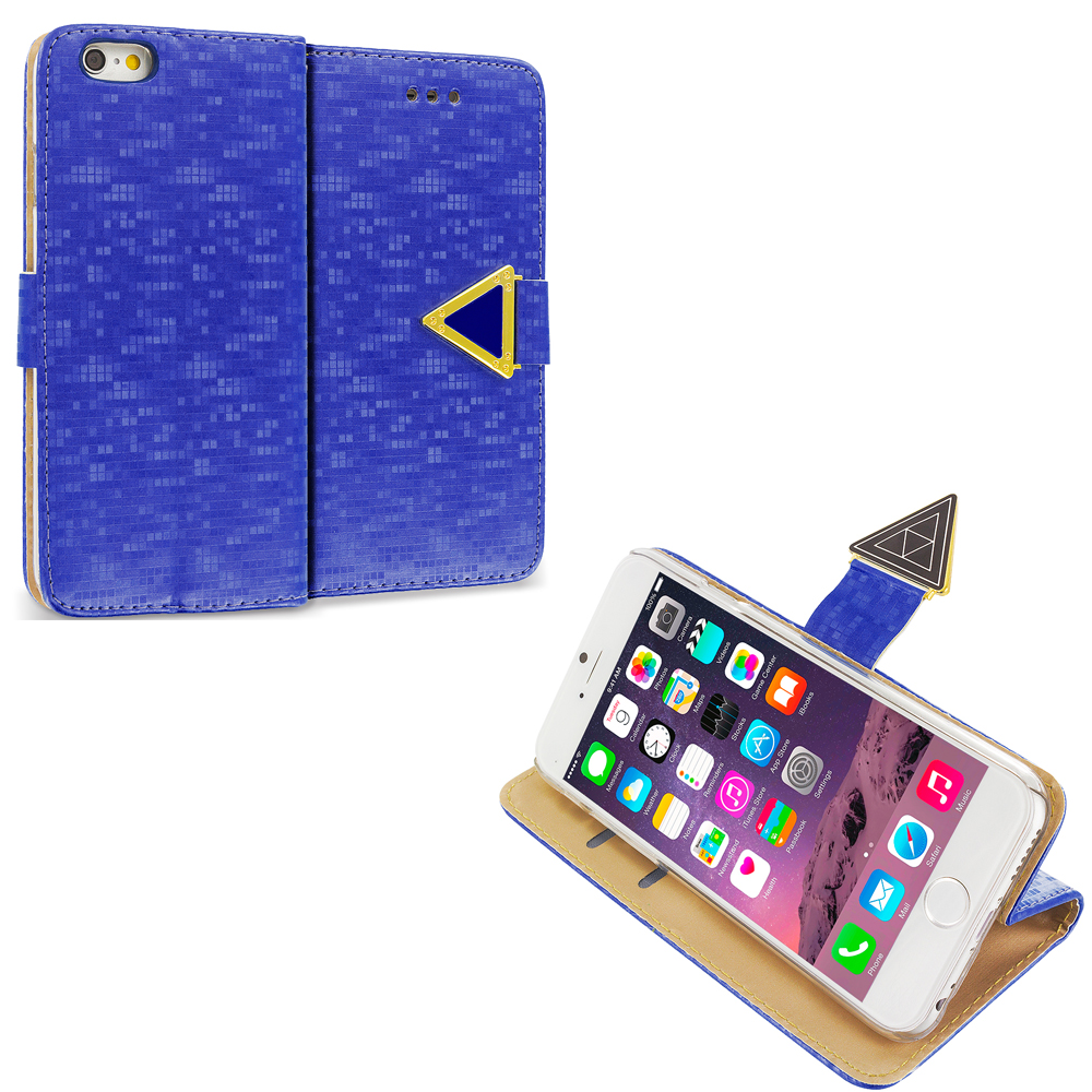 Apple iPhone 6 Plus 6S Plus (5.5) Blue Luxury Wallet Diamond Pixels Design Case Cover With Slots