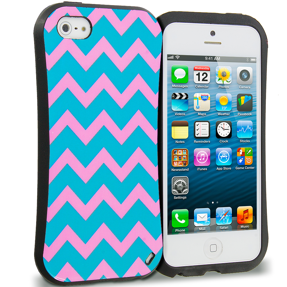Apple iPhone 5 Combo Pack : Hot pink Wave Hybrid TPU Hard Soft Shockproof Drop Proof Case Cover : Color Pink Wave
