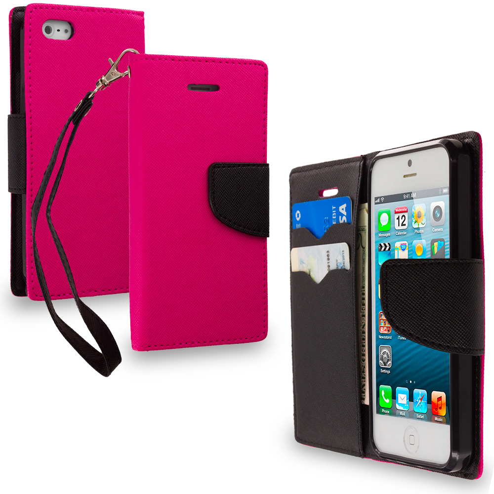 Apple iPhone 5/5S/SE Combo Pack : Hot Pink / Black Leather Flip Wallet Pouch TPU Case Cover with ID Card Slots : Color Hot Pink / Black