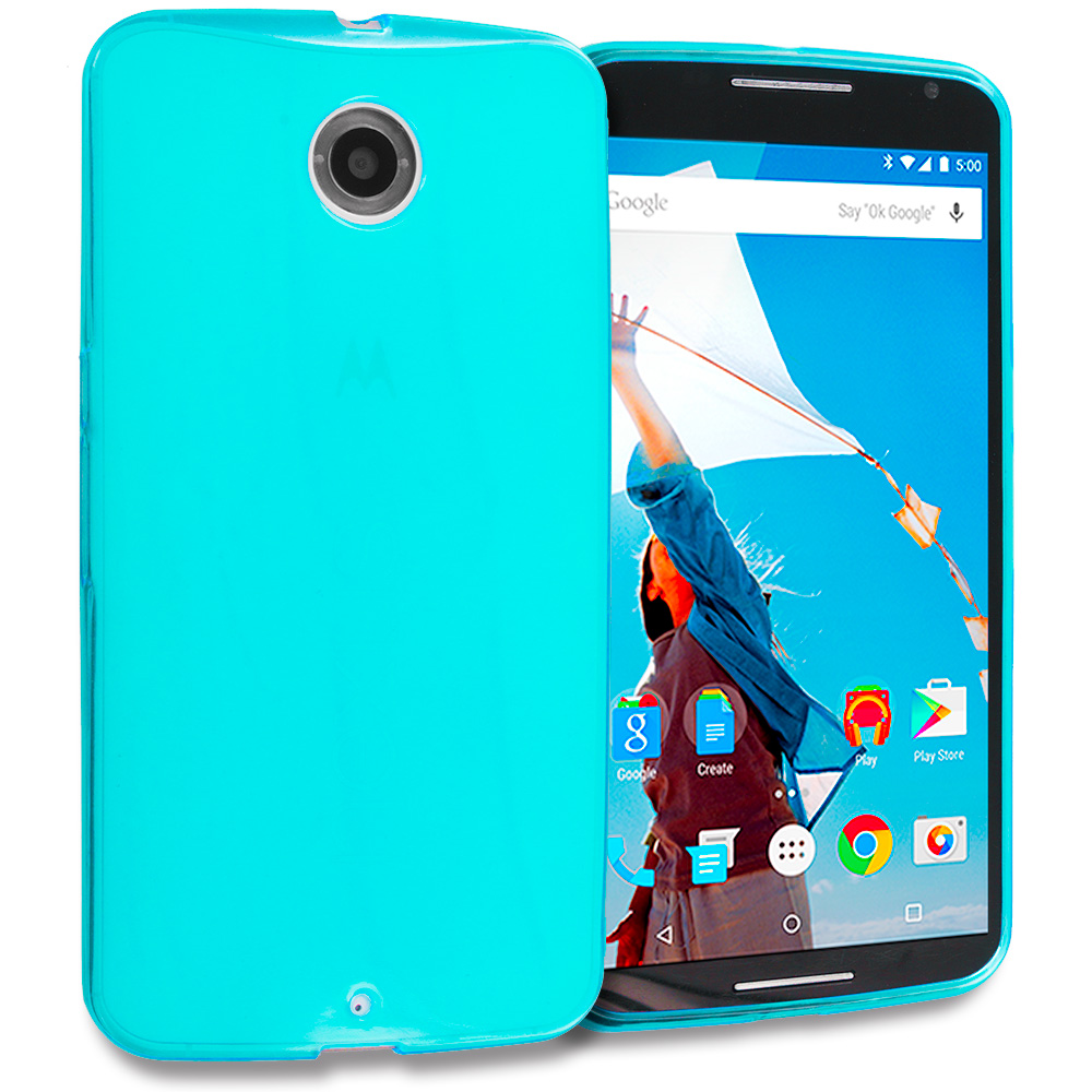 Motorola Google Nexus 6 Baby Blue TPU Rubber Skin Case Cover