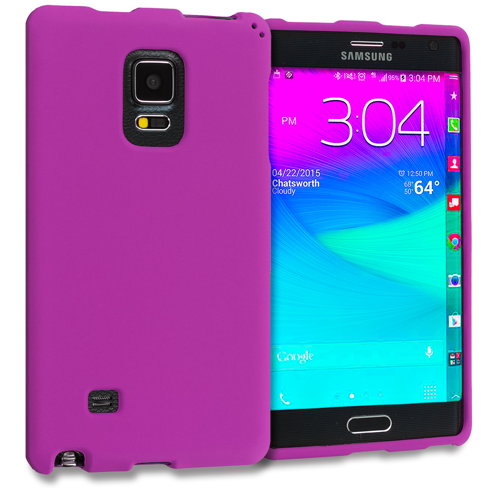 Samsung Galaxy Note Edge Purple Hard Rubberized Case Cover