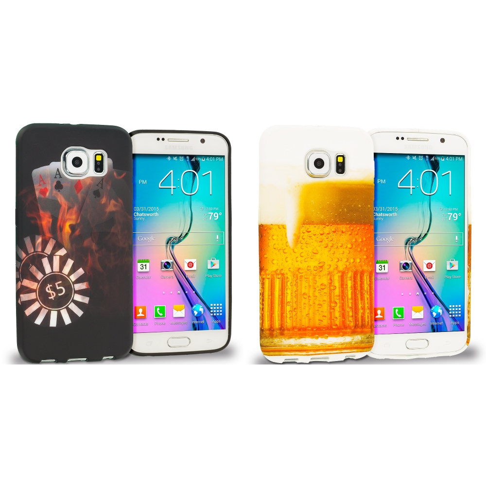 Samsung Galaxy S6 Combo Pack : Poker TPU Design Soft Rubber Case Cover
