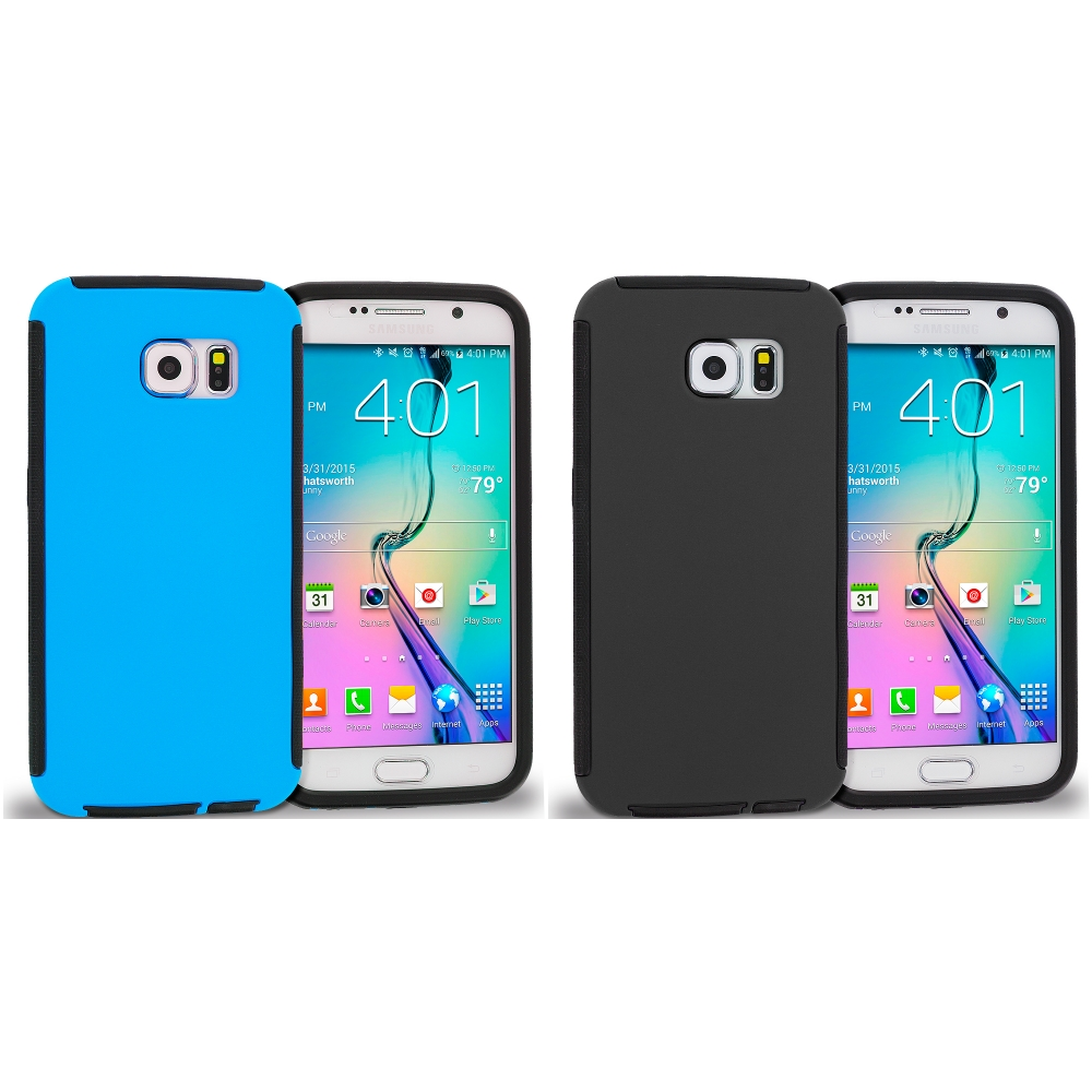 Samsung Galaxy S6 Combo Pack : Black / Black Hybrid Hard TPU Shockproof Case Cover With Built in Screen Protector