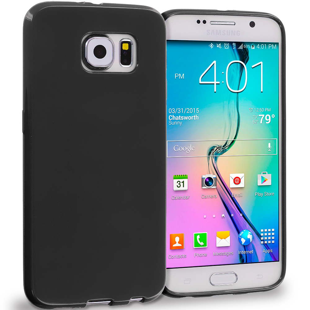 Samsung Galaxy S6 Combo Pack : Black Solid TPU Rubber Skin Case Cover : Color Black Solid