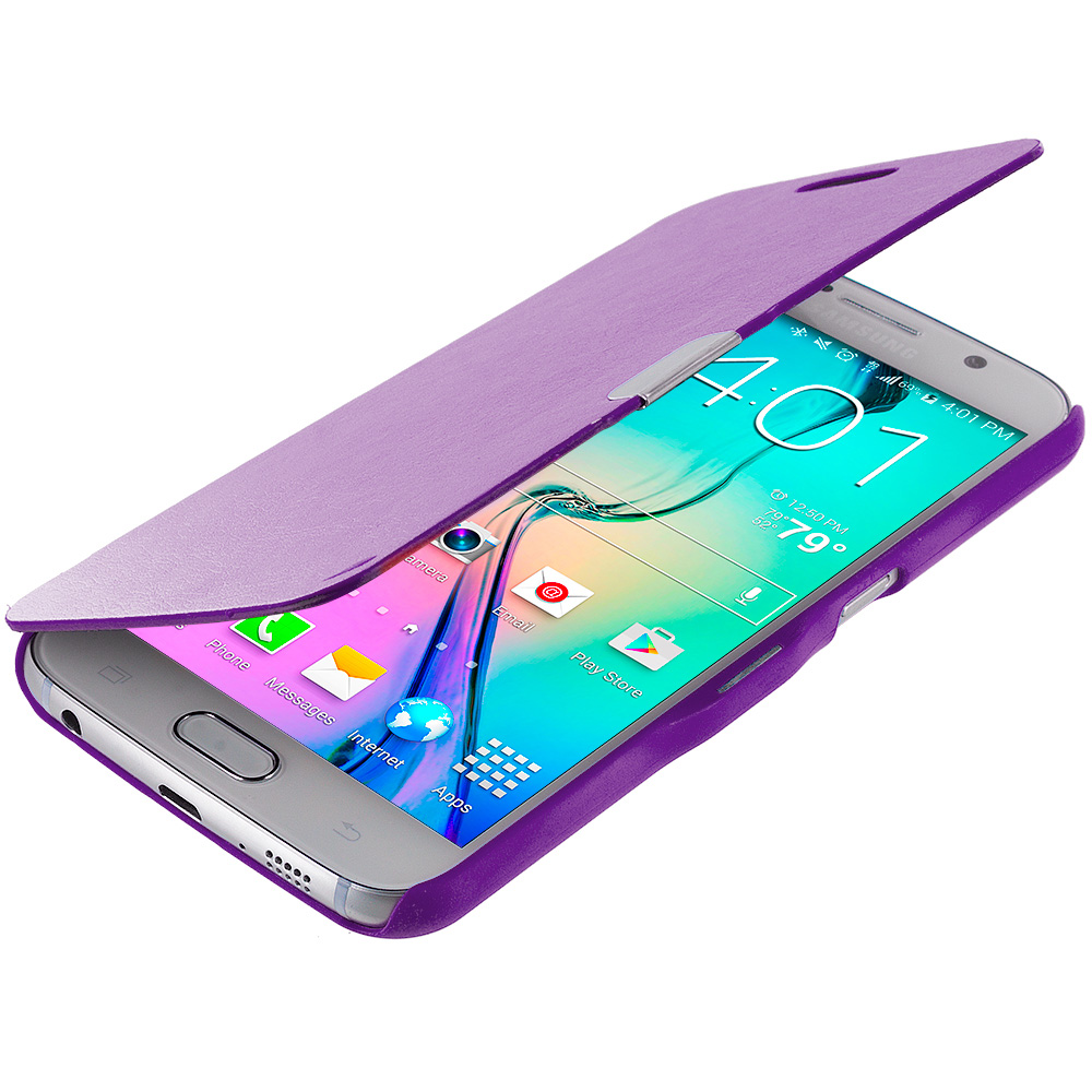 Samsung Galaxy S6 Purple Magnetic Flip Wallet Case Cover Pouch