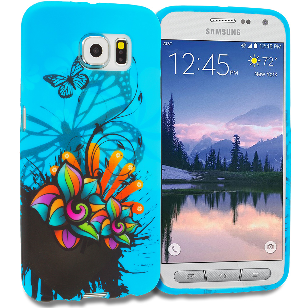 Samsung Galaxy S6 Active Blue Butterfly Flower TPU Design Soft Rubber Case Cover
