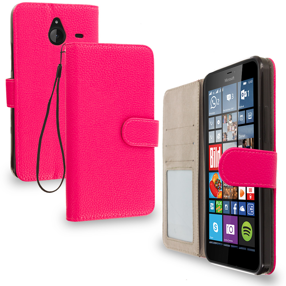 Microsoft Lumia 640 XL Hot Pink Leather Wallet Pouch Case Cover with Slots